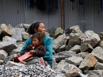 Crushing stone in Lukla